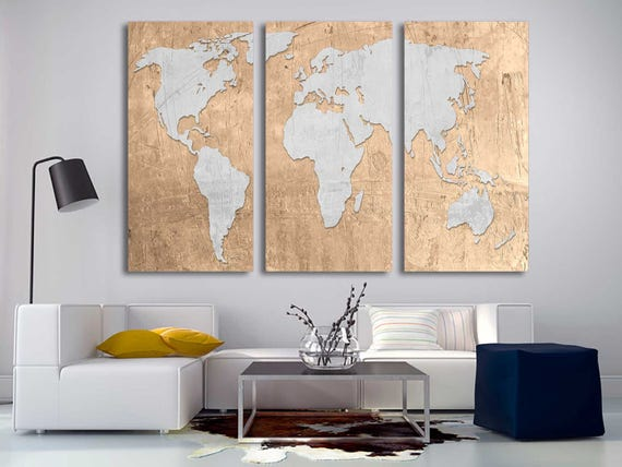 Raffia beige silver world map canvas print 3 panel split gumiabroncs Gallery