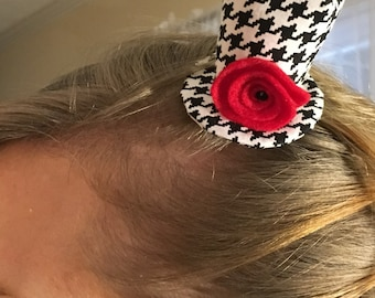 Mini Top Hat - Houndstooth with Red Felt Rose