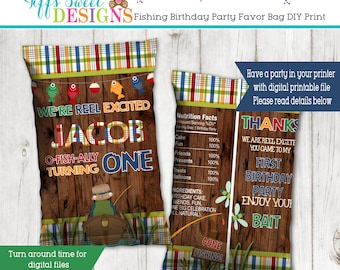 Fishing  Birthday Party Personalized Favor Bag - Candy Bag - Chip Bag - Goody Bag - Party Bag - Loot Bag - DIY Printing