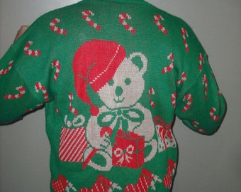 Hysterical Vintage Teddy bear in santa Hat Tacky Ugly Christmas Sweater Size 20W Mens or Womens  Festive  Bright Front & Back Fast Shipping!