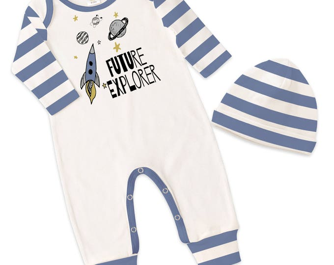 Baby Boy Take Home Romper, Baby Boy Blue Striped Romper, Baby Boy Bodysuit Hat, Future Explorer, TesaBabe