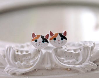 Calico Kitty cats  Earrings cute kawaii