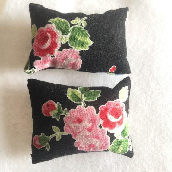 Miniature Black Floral Pillows -2
