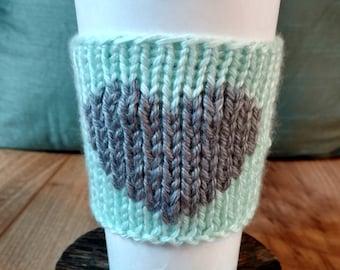 Reusable Handmade Heart Knit Beverage Sleeve