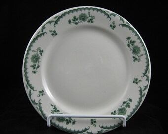 Vintage Shenango Restaurant China Floral Chardon Rose Dinner Plate, Rim Rol  Green Transfer Ware