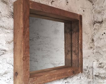 Rustic reclaimed wooden frame mirror wit shelf