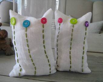 Button Flower Bean Bags in White Linen Pair