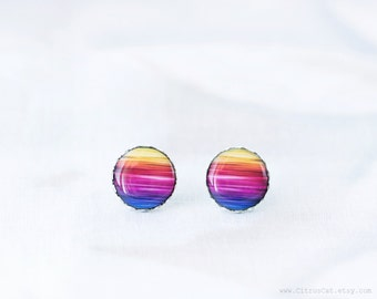 Neon rainbow stud earrings, rainbow jewelry, colorful earrings, multicolor earrings, summer jewelry