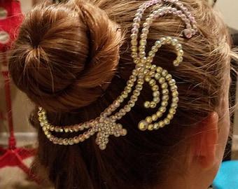 Ballroom Dance Hair Piece Adornment Accessories Swarovski Crystals Rhinestones Weddings