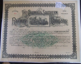 Railroad Stock Certificate  Vintage Columbus Southern Railway Company Stock Certificate 100 Shares - Late 1800's