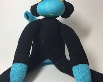 Black + Light Blue Sock Monkey
