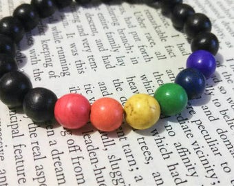 Rainbow bead bracelet, gay pride bracelet, stretch bead bracelet, elastic rainbow bracelet, mens bracelet, wood bracelet, rainbow jewelry
