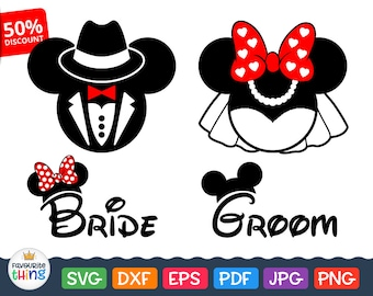 Disney Wedding Svg Files Mickey Mouse Groom Svg Minnie Mouse Bride Svg Marriage Clip Art Wife Husband svg for Cricut, Silhouette Dxf Png Eps