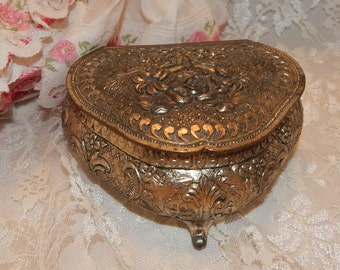 SALE......Floral Bouquet Silver Plated Footed Trinket / Jewelry Box with Red Lining made in Japan Makers mark
