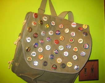 Beer Bottle Cap Button Backpack Messenger Vintage Army Ammunition Bag Military Repurposed Green Canvas Travel Ammo Bag Bookbag