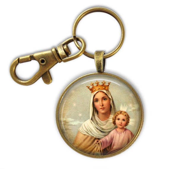 Catholic Keychain - Religious gift - Our Lady of Mount Carmel