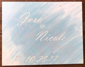 Hand painted guestbook signing canvas
