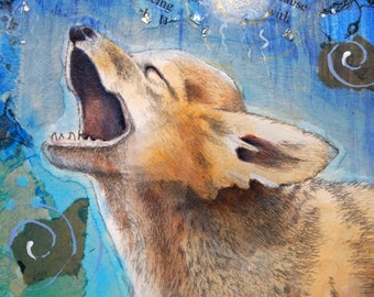 howling coyote original mixed media painting