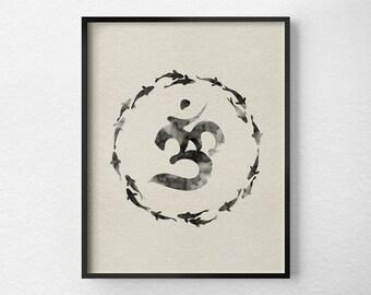 Zen Decor, Zen Art, Om Poster, Zen Wall Art, Feng Shui Wall Art, Om Art, Yoga Print, Yoga Studio Decor, Meditation Print, Zen Print, 0384