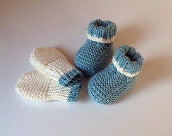 Hand Knitted Booties and Mittens in Cashmere Merino Silk Yarn - 0-3 Months
