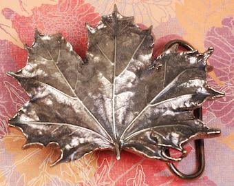 Maple Leaf Belt Buckle - Maple Leaf Buckle - Leaf Buckle - Brass