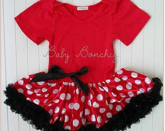 Minnie fancy dress baby girl red tutu baby grow birthday party halloween