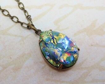 Green Fire Opal Necklace Pendant Peridot Green Opal Necklace Jewelry Gift