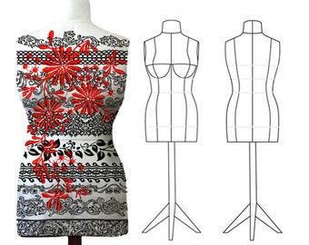 Custom Made-To-Measure PDF Sewing Pattern - DIY Dress Form Mannequin. Plus Complete Step-by-Step Sewing Photo-Guide.