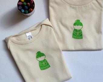 Block Printed Organic Unbleached Cotton T-Shirt/Onesie - Kokeshi/Japanese/Asian Doll