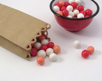 50 Heart Edge Candy Buffet Bag Kraft Extra Small Paper Bags with Dotted Heart for Wedding Favors or Showers or Party Gifts
