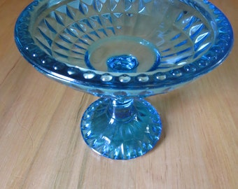 Jeanette Glass Company, Diamond Pattern Compote, Blue Compote, Vintage Compote, Jeanette Glass Compote, Footed Compote, Candy Dish, Blue