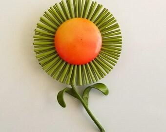 Vintage Mod Flower Power Orange & Green Spider Mum Sunflower Daisy Enamel Brooch Pin  - RARE