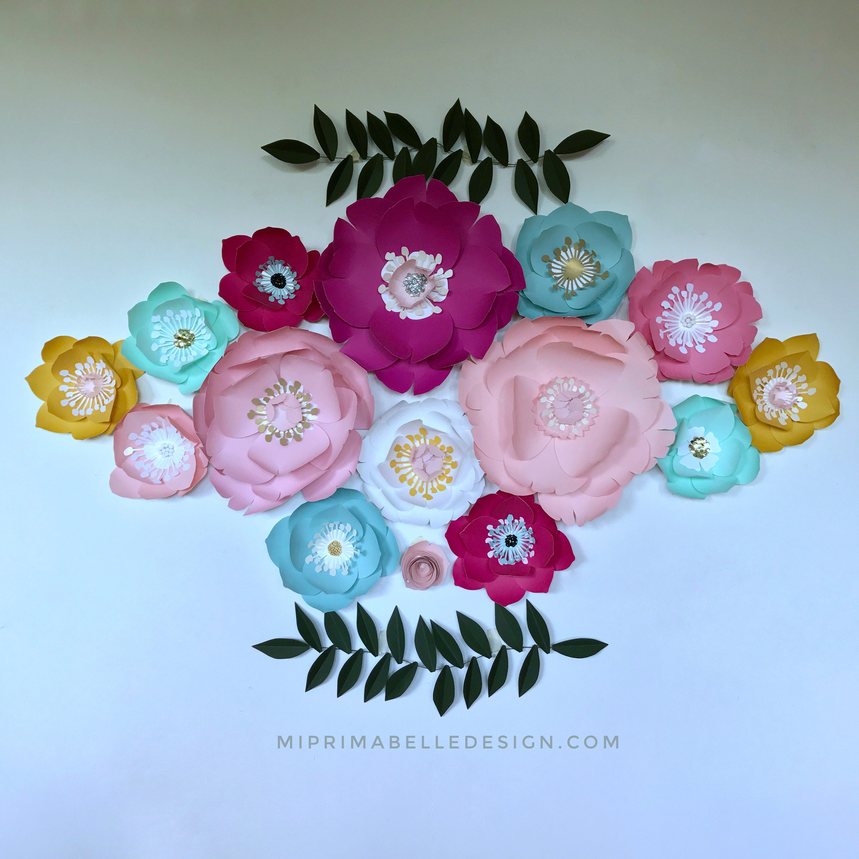 Turquoise flowers Paper flowers large magenta paper flowers decor ...