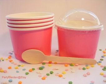 12 Hot Pink Ice Cream Cups - Medium 12 oz