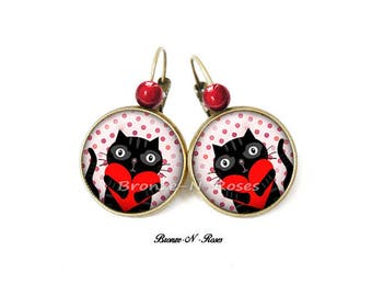 "Earrings ""cat big heart hug"" sleepers daughter red glass cabochon"