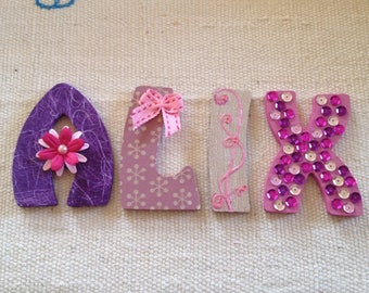 Letters name ALIX Pink Purple