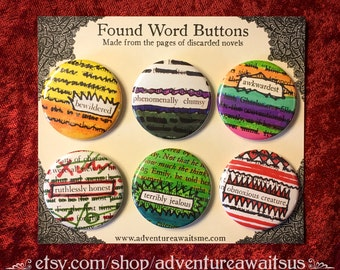 Found Word Pinback Button Set - book pages recycled pins badges bewildered reader writer librarian english teacher sarcastic snarky humor