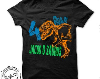 Dinosaur birthday shirt for kids personalized tshirt 3rd bday 1st, 2nd, 4th, 5th, 6th any birthday dino t-rex theme party shirts boys, girls