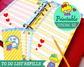 PRINTABLE Personal Size Cute Kawaii Kokeshi DIY To Do List Refills for Filofax Organizer Planner Instant Download