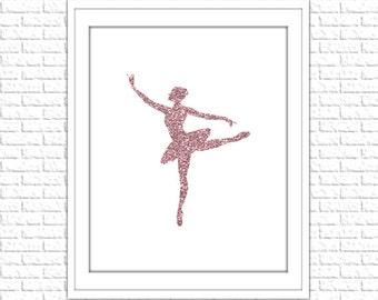 Pink Glitter Ballerina Print | 8x10 Printable Art Print | Girl Wall Art | Girl Printable | Nursery Subway Art | Instant Download Printable