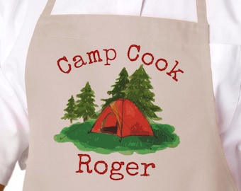 Ready to Ship, Camp Cook Camping Apron, Personalized Grilling, Barbecue or BBQ Apron, Father's Day & Birthday Gift, Men's Gift APR-002