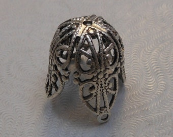 LuxeOrnaments Large Oxidized Sterling Silver Plated Brass Filigree Bead Cap 17x16mm (1 pc) S-9038-1-S