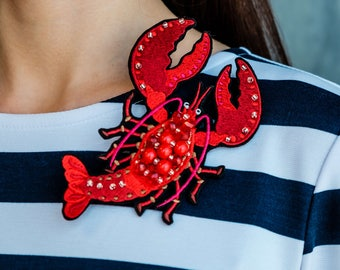 """Embroidered Brooch """"Red lobster"""""""