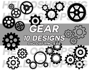 gear svg, mechanic svg, clock gear svg, cogwheel svg, clipart, silhouette, decal, stencil, vinyl, cut file , eps, dxf, png, iron on