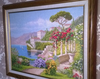 Picture Flowering Italy. Cross stitch. Hand made.