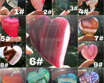Heart agate pendant necklace, 17 different colors and styles to choose from.