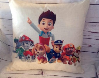 Paw Patrol,Duck Feather pillow insert and Cotton Linen Cover, 18×18, Free Shipping..,cute and fun pillow, kids pillow