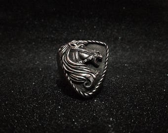 The Mustang - iron horse 3D pewter ring, cowboy horses, western ride, pony tail rings, original handmade rock and roll jewelry