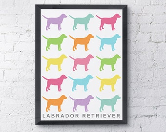 Pastel Color Labrador Retriever Multiple Pattern Dog Print, Dog Art, Dog Poster, Pop Wall Art