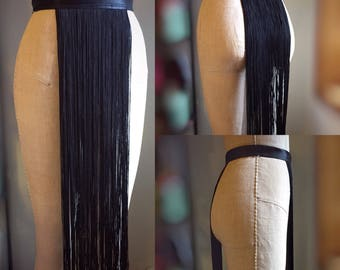 Super Long Black Fringe Burlesque Shimmy Belt Made to Order